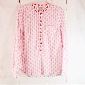 J. CREW | Pink Floral Popover Long Sleeve Shirt XS
